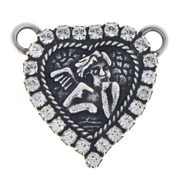 Heart shaped pendant with angel and Rhinestones