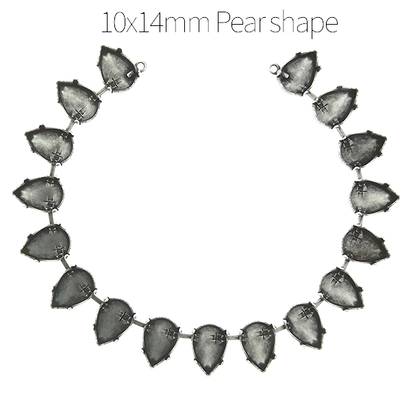 14x10mm Pear shape cup chain Necklace base