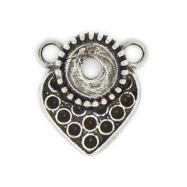 8pp, 39ss Heart shaped Pendant base with two loops