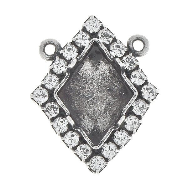 14x10.5mm Tilted Spike stone setting with Rhinestones and two top loops