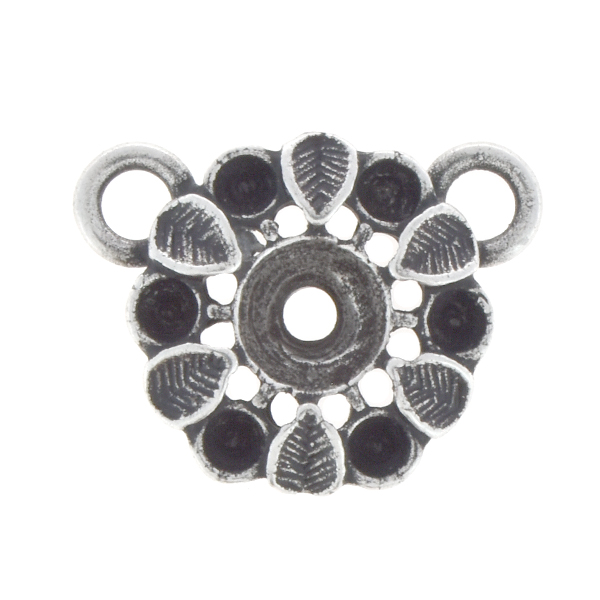 14pp, 24ss Flower with leaves pendant base with two loops