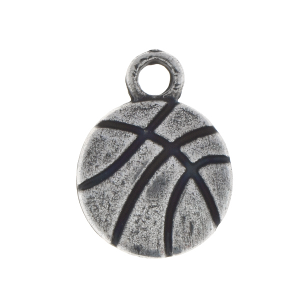 Metal casting basketball balls charm with top loop
