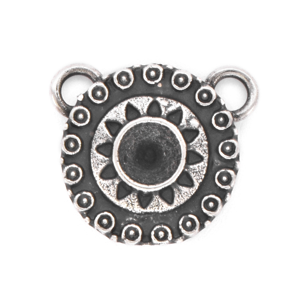 24ss Round Ethnic Pendant base with two top loops