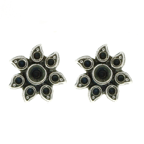 Metal casting Sunflower for 32pp and 8pp crystals Stud Earring bases