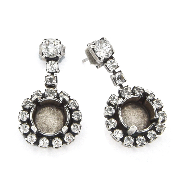 14pp, 18pp, 32pp Rhinestones Stud Earring base with hanging 39ss