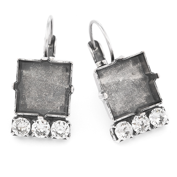 12x12mm Square with 32pp Crystals Lever back earring base