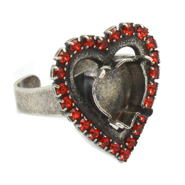 Heart 11X10mm adjustable Ring base with crystals
