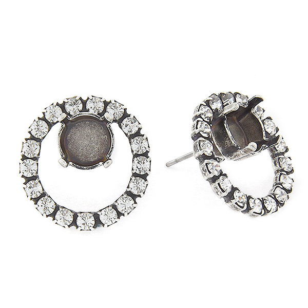 39ss in hollow circle of 18pp Rhinestones Stud Earring base
