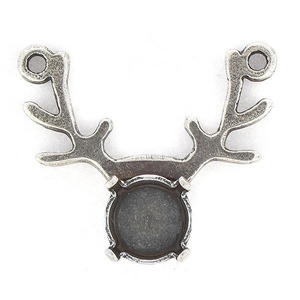 39ss Deer shaped Pendant base with two top loops