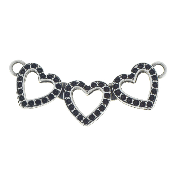 8pp Three hollow hearts pendant base with two loops