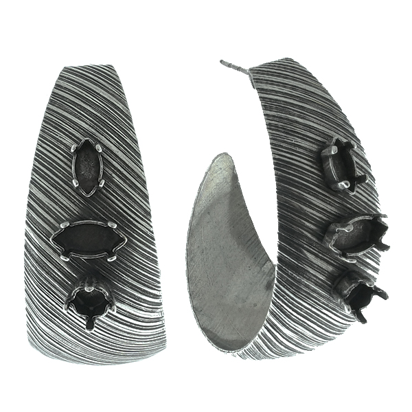 24ss, 8x4mm and 10x5mm Navette stone setting metal slashed texture Hoop earring bases