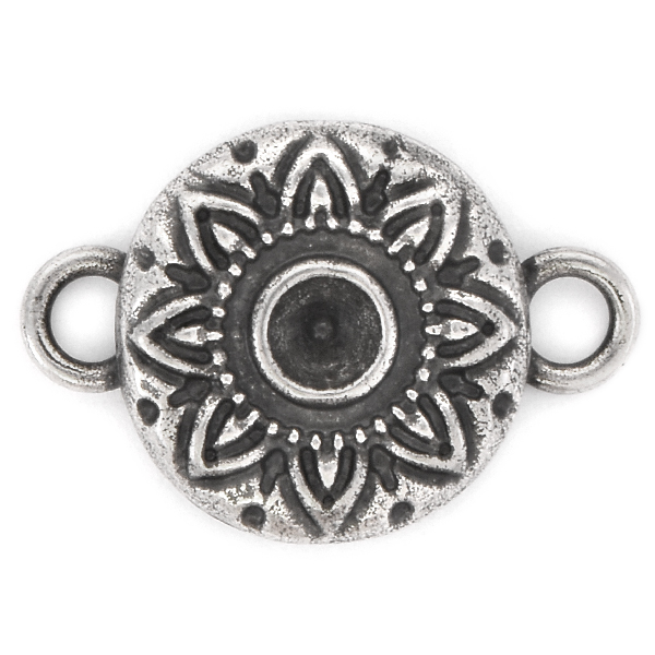 32pp Round Decorated Jewelry connector with two side loops