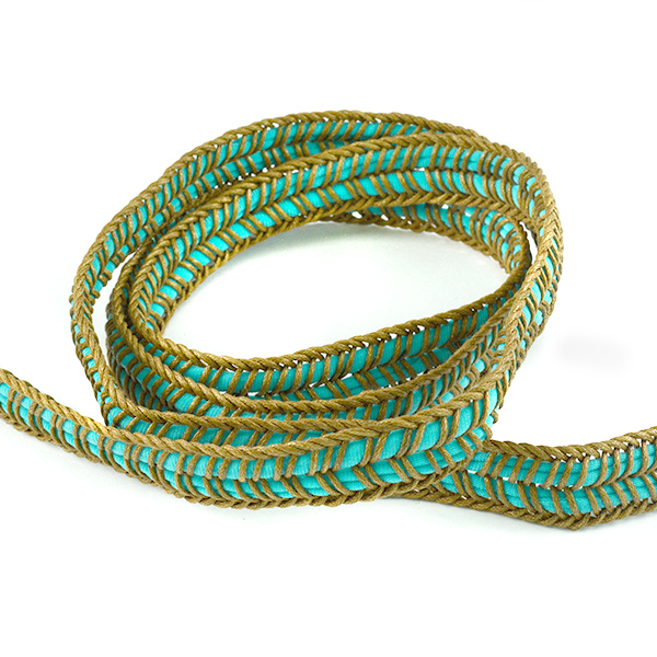 17mm Turquoise Flexible fabric cord for jewelry making