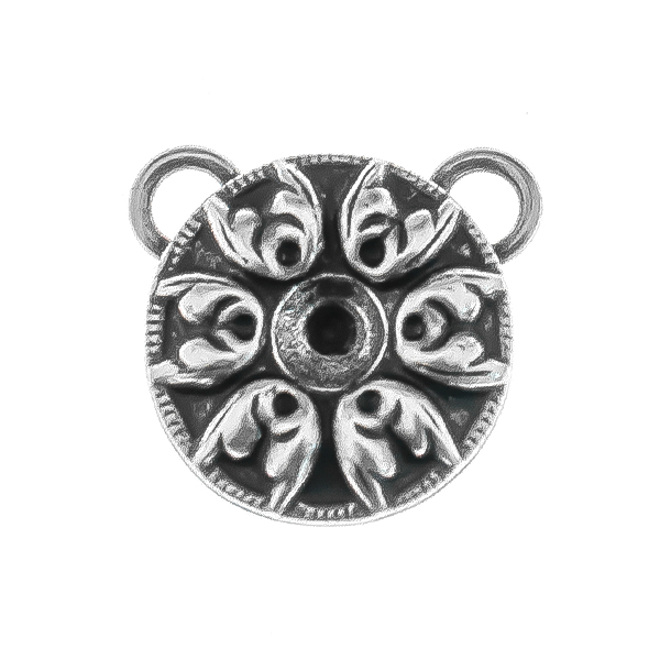 24ss metal Baroque pattern round Pendant with two top loops