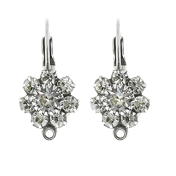 arovski Crystal color crown setting Flower Lever Back Earring bases with bottom loops
