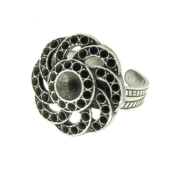 24ss and 8pp Flower Metal Casting Element on  Adjustable ring base