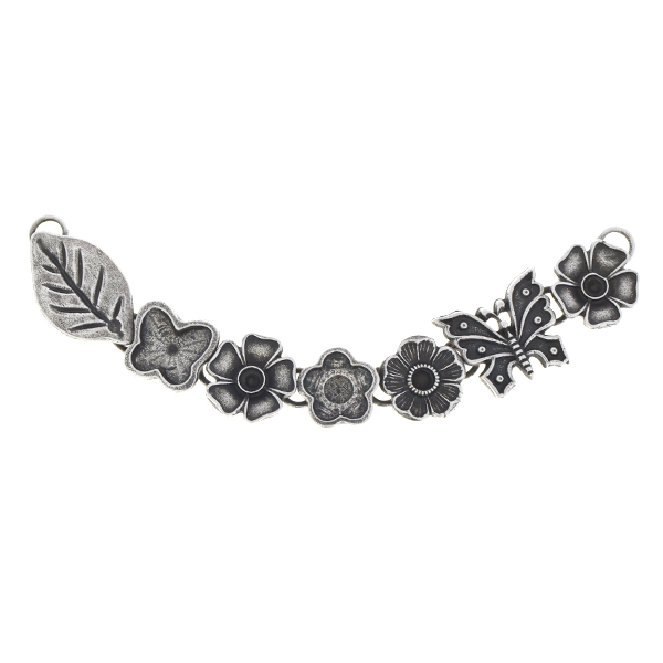 24pp, 10mm Butterfly, 10mm Flower inflexible centerpiece for necklace