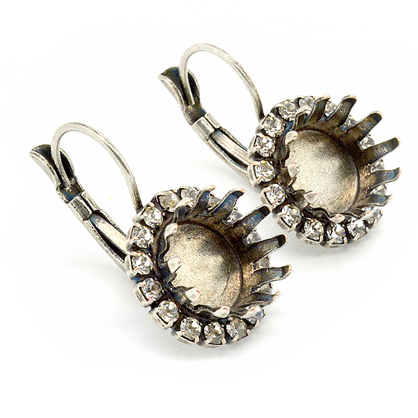 47ss Crown Lever back Earring settings with Rhinestone