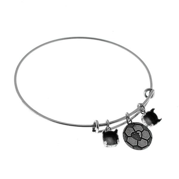Adjustable thin bangle bracelet with Charms: 39ss settings and
