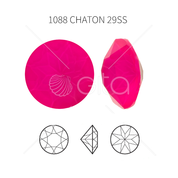 29ss/6mm Chaton 1088 Aurora Crystal Electric Pink