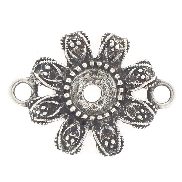 39ss Metal casting Flower Jewelry connector with two loops