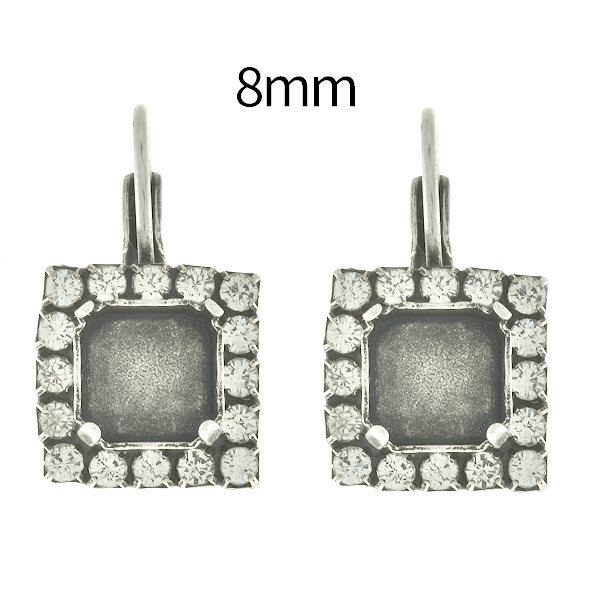 8mm Imperial 4480 Square Lever Back Earring bases with Rhinestoness