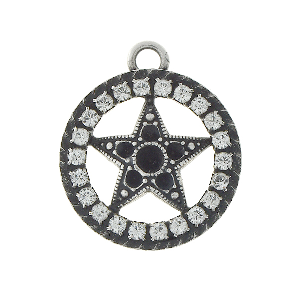 14pp, 24pp Star in holow circle pendant base with Rhinestones