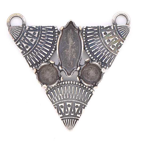 29ss, 15x7mm Navette with three ethnic triangles Pendant
