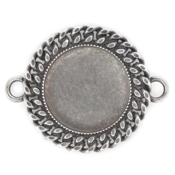 16mm Rivoli Flat back Jewelry connector with chain and 2 side loops
