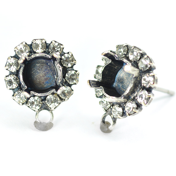 29ss Stud Earring base withRhinestoness and bottom loop