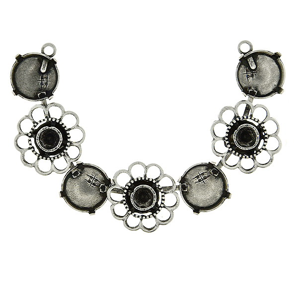 39ss and 12mm Rivoli with Chamomile metal casting elements cup chain Centerpiece for Necklace base