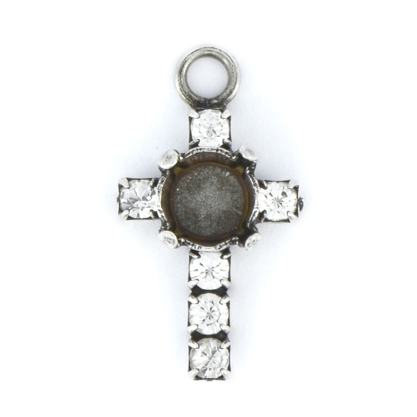 29ss and 18pp Rhinestones Cross Pendant base with top loop