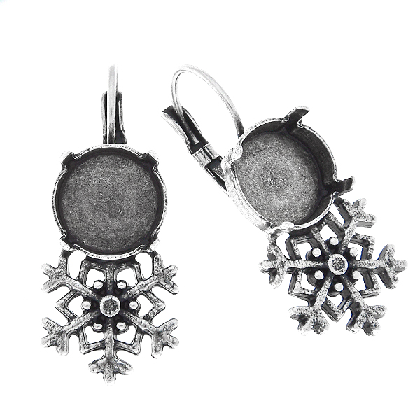 12mm Rivoli stone settings with Snowflake metal casting elements on Lever back Earring bases