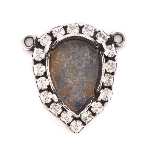 14x10mm Pear shape stone setting with Rhinestones and two loops