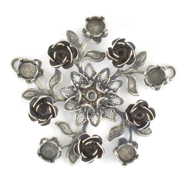 18pp,24ss,29ss Flower Pendant base with Two top side loops