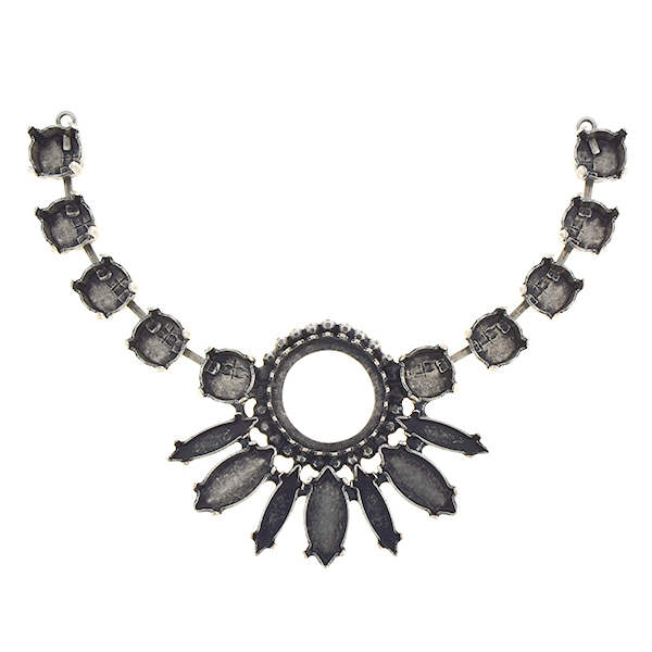 39ss, 16mm Rivoli, Navette Crown Centerpiece for Necklace with 2mm ball chain
