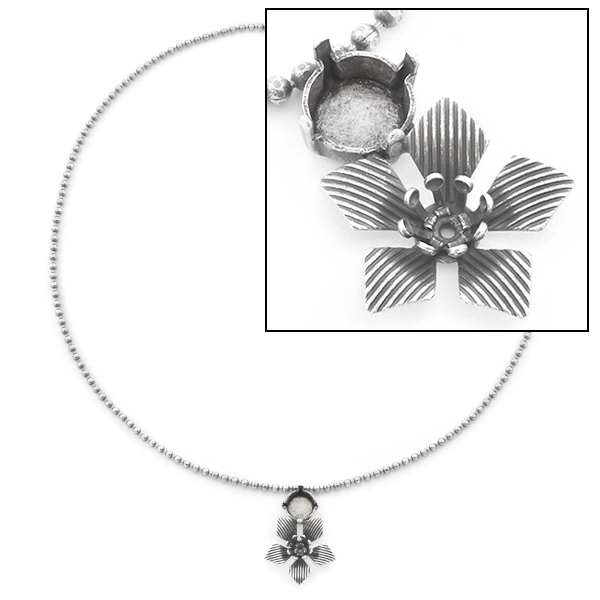 24ss, 39ss Chain Necklace base with Flower Pendant