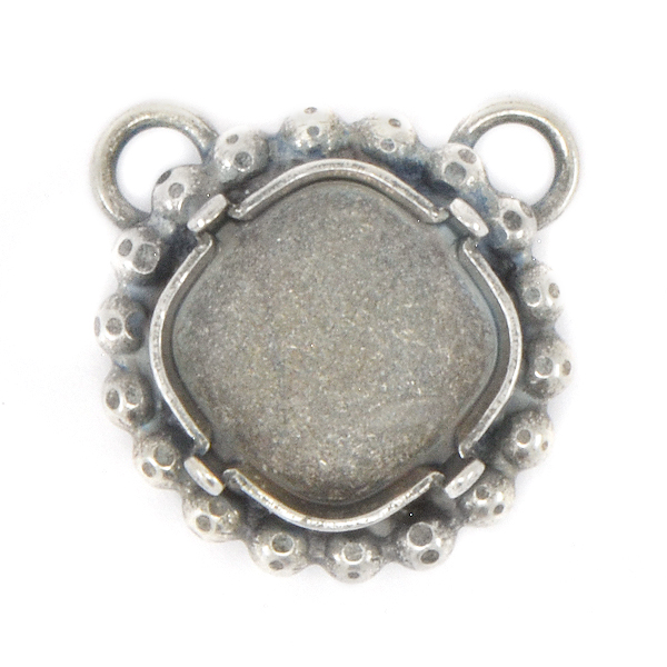 12x12mm Square Stone Setting with 2mm ball chain around and two top side loops