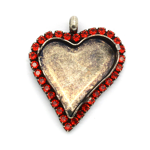 27x25mm Sweet Heart Fancy Pendant base with Rhinestoness and top loop