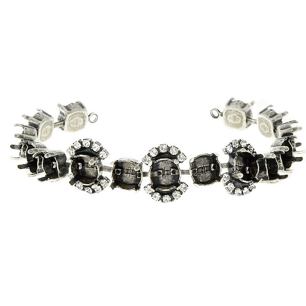 39ss/8mm cup chain with Rhinestones Bracelet base 15 settings