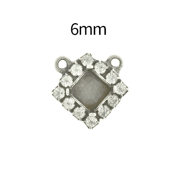 6mm Imperial  4480 Lozenge Stone setting with Rhinestoness and two top loops