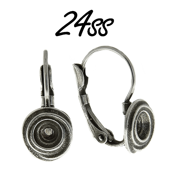24ss wavy metal casting round Lever back earring bases