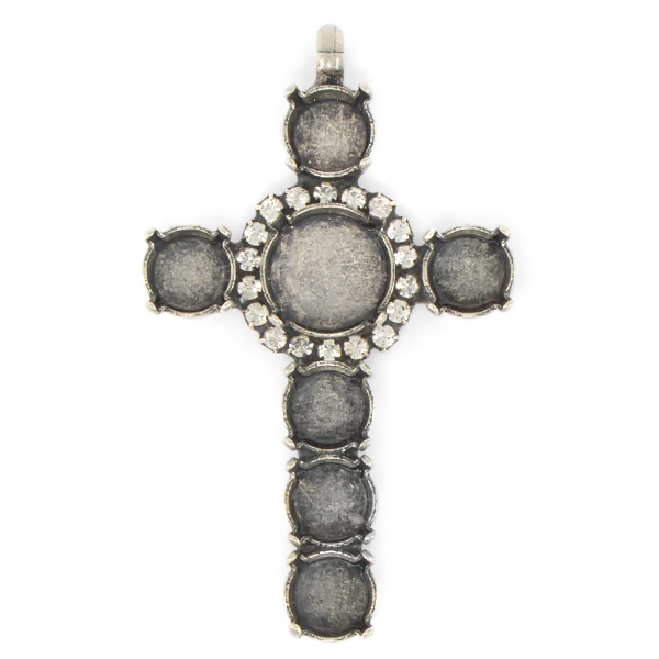 Cross Pendant base 39ss and 12mm Rivoli in the middle