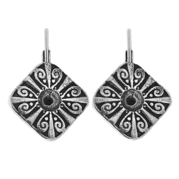 Metal casting Rhombus Chinese ornament element for one 24ss crystals Lever back earring bases