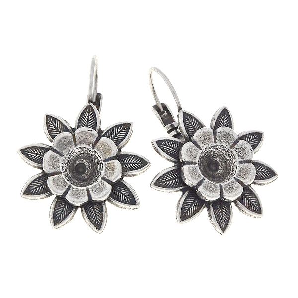 29ss flower with double petals Lever back earrings bases