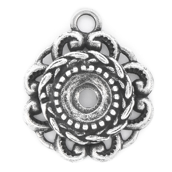 39ss Wheat stone setting Flower Pendant base with top loop
