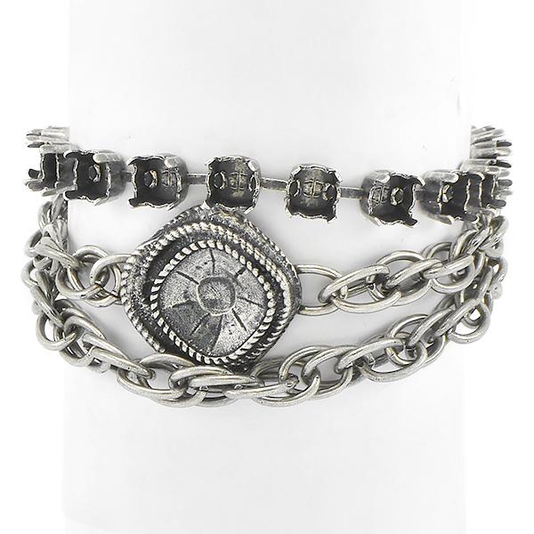 29ss, 12x12mm Wave Square with Rope chain Wrap Around Bracelet base
