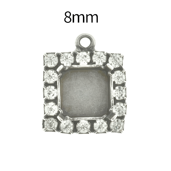 8mm Imperial  4480 Square Stone setting with Rhinestoness and one top loop
