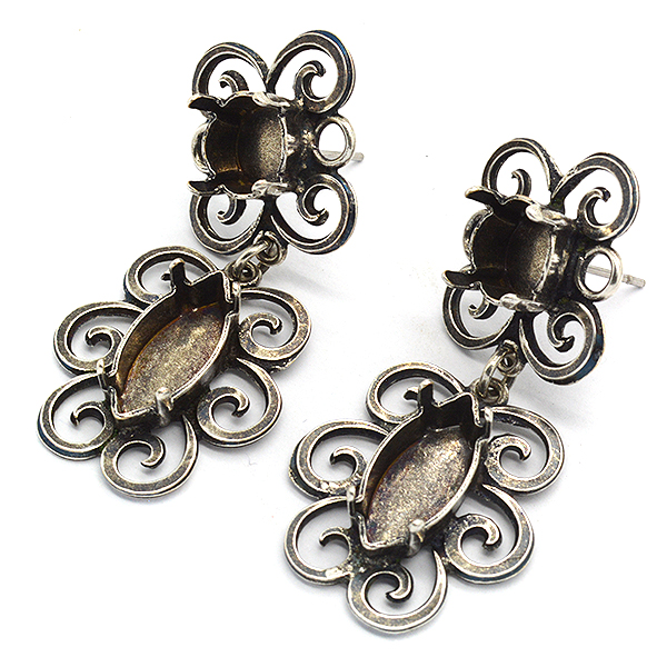 Vintage stud earring base with 39ss and Navette 15-7mm