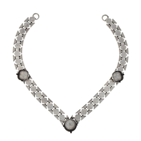 14mm Rivoli, 12x12mm Square honeycomb chain centerpiece for necklace